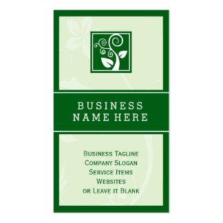 Símbolo elegante del verde de la hoja del árbol tarjetas de visita