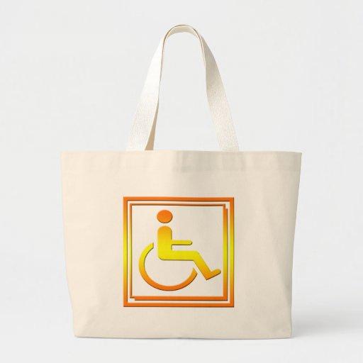 Símbolo elegante perjudicado amarillo-naranja bolsa tela grande