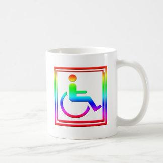 Símbolo elegante perjudicado multicolor taza de café