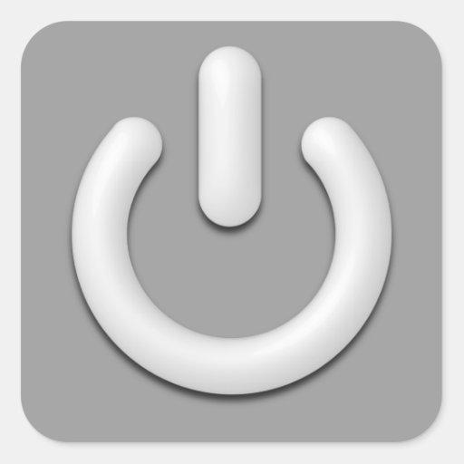 Símbolo espera calcomanías cuadradass personalizadas