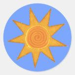 Símbolo espiral amarillo de Sun de nueve rayos Pegatinas