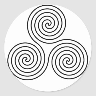 Símbolo espiral triple pegatina redonda