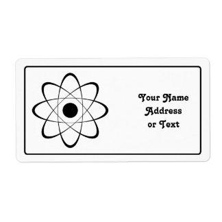 Símbolo estilizado del átomo etiqueta de envío