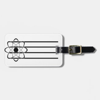 Símbolo estilizado del átomo etiquetas maleta
