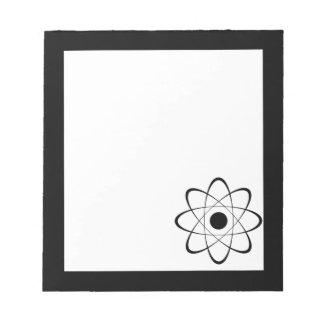 Símbolo estilizado del átomo libreta para notas