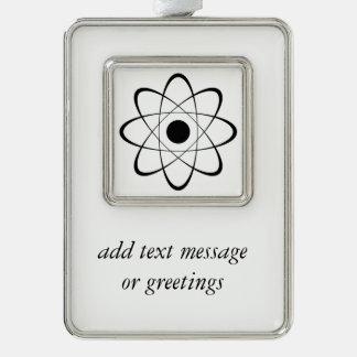 Símbolo estilizado del átomo marcos de adorno plateado