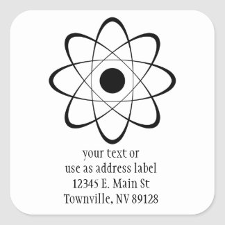 Símbolo estilizado del átomo pegatina cuadrada