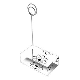 Símbolo estilizado del átomo soporte para tarjeta de mesa