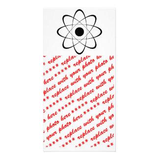 Símbolo estilizado del átomo tarjetas con fotos personalizadas