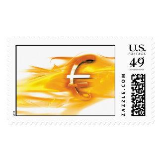 Símbolo euro del oro sellos postales