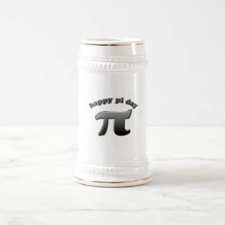 Símbolo feliz del día pi del pi para los empollone jarra de cerveza