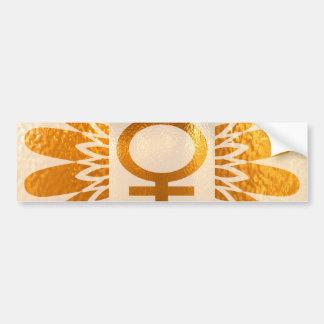 Símbolo femenino del icono: Energía de oro del gir Pegatina De Parachoque