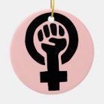 Símbolo feminista adorno navideño redondo de cerámica