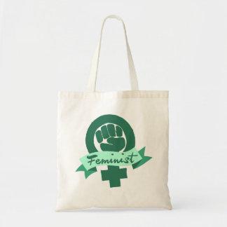 Símbolo feminista en trullo bolsas lienzo