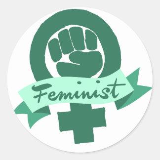Pegatinas con diseños feministas en Zazzle