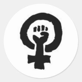 Símbolo feminista pegatina redonda
