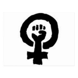 Símbolo feminista postales