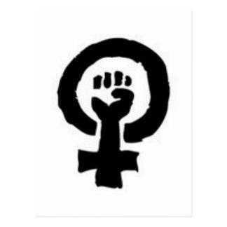 Símbolo feminista tarjeta postal