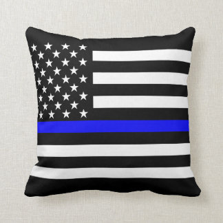 Símbolo fino de América Blue Line Cojín Decorativo