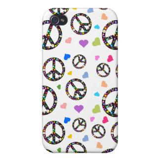 Símbolo, flores y corazones de paz colorido iPhone 4 funda