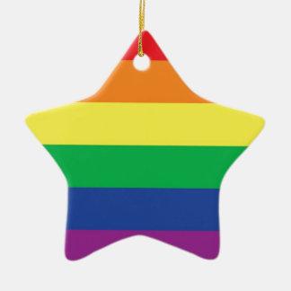 Símbolo gay de la bandera del orgullo de la adorno de cerámica en forma de estrella