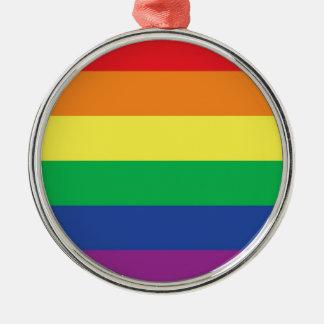 Símbolo gay de la bandera del orgullo de la adorno redondo plateado