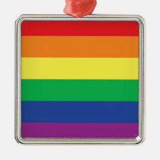Símbolo gay de la bandera del orgullo de la adorno cuadrado plateado