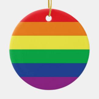 Símbolo gay de la bandera del orgullo de la adorno redondo de cerámica