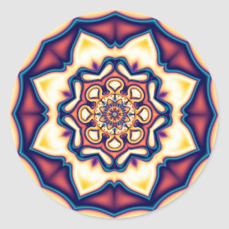 Símbolo geométrico 1 del fractal del caleidoscopio pegatina redonda
