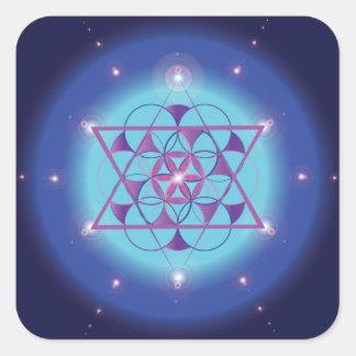 Símbolo geométrico sagrado del azul del Hexagram Pegatina Cuadrada