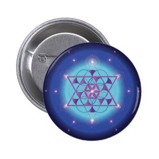Símbolo geométrico sagrado del azul del Hexagram Pin Redondo 5 Cm