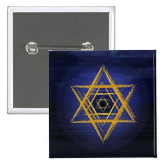 Símbolo geométrico sagrado del oro y del azul del pin cuadrada 5 cm