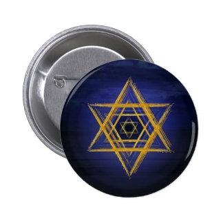 Símbolo geométrico sagrado del oro y del azul del pin redondo de 2 pulgadas
