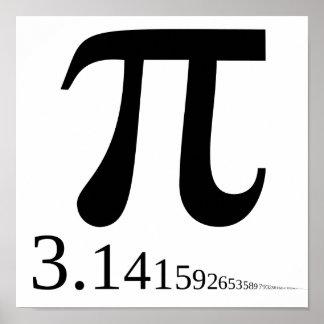 """Símbolo gigante y 3,14 del """"pi""""… póster"""