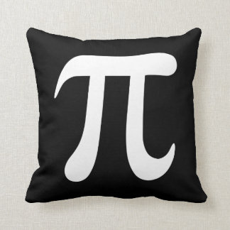 Símbolo grande del blanco pi en la almohada de