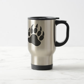 Símbolo gris de la pata de oso del orgullo del oso taza de viaje de acero inoxidable