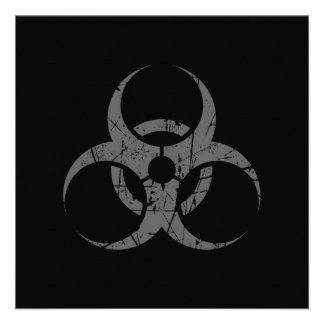 Símbolo gris rasguñado del Biohazard en negro Anuncios