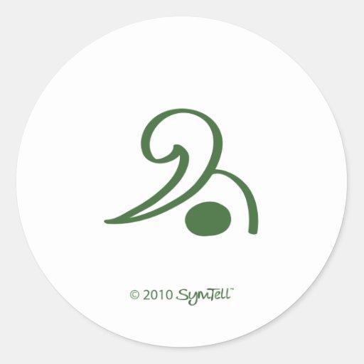 Símbolo gruñón verde de SymTell Pegatina Redonda