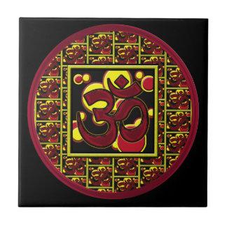 Símbolo hermoso w/Circles de OM Aum y cuadrados Tejas Cerámicas