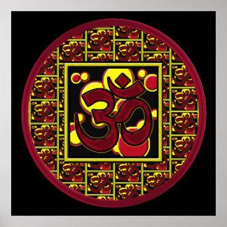 Símbolo hermoso w/Circles de OM Aum y cuadrados Impresiones