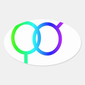 Símbolo heterosexual #2 del arco iris pegatina ovalada