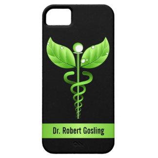 Símbolo holístico de la salud del caduceo verde funda para iPhone 5 barely there