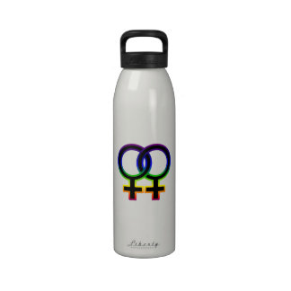 Símbolo homosexual femenino del arco iris botella de agua reutilizable