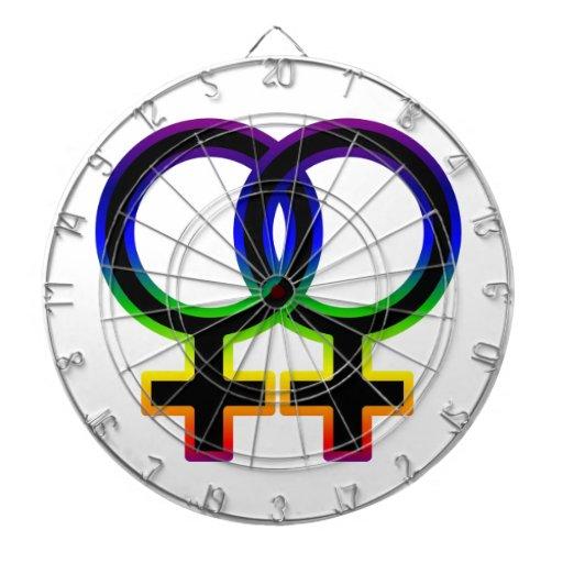 Símbolo homosexual femenino del arco iris tabla dardos