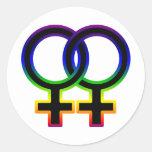 Símbolo homosexual femenino del arco iris pegatina redonda