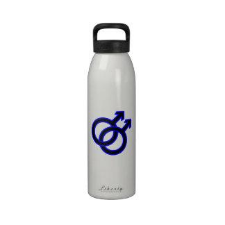 Símbolo homosexual masculino botellas de beber