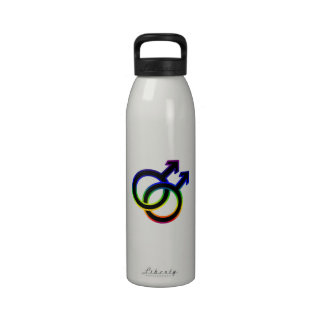 Símbolo homosexual masculino del arco iris botella de agua