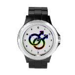 Símbolo homosexual masculino del arco iris relojes