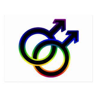 Símbolo homosexual masculino del arco iris tarjetas postales
