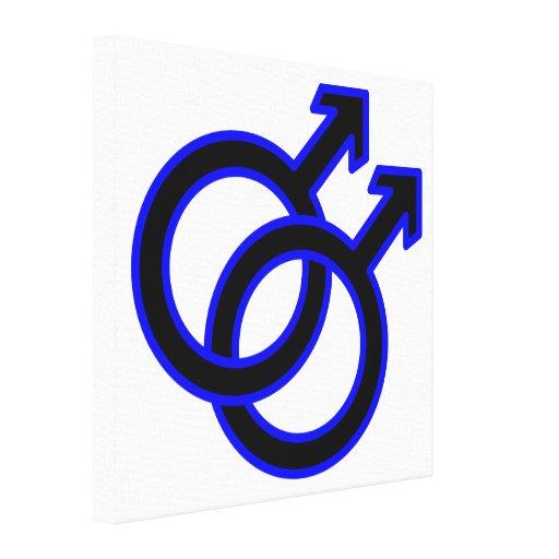 Símbolo homosexual masculino impresiones en lona estiradas